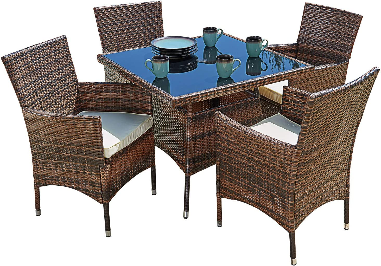 Suncrown Outdoor Furniture All Weather Square Wicker Dining Table And Chairs 5 Piece Set Washable Cushions Patio Backyard Porch Garden Poolside Tempered Glass Tabletop Modern Design Garden Outdoor
