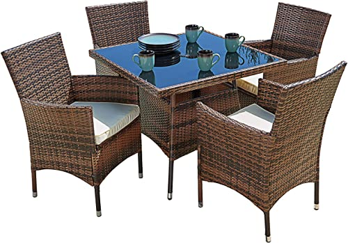 SUNCROWN Outdoor Furniture All-Weather Square Wicker Dining Table and Chairs 5-Piece Set Washable Cushion