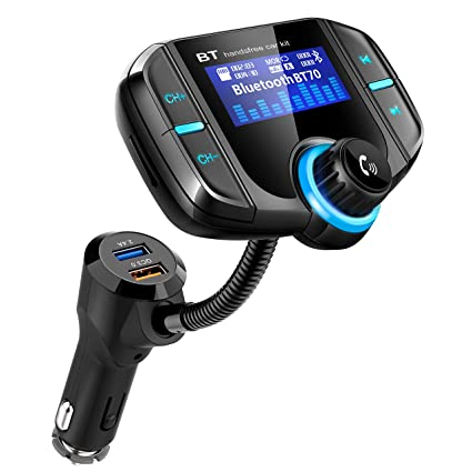 Bluetooth Fm Transmitter for car, Bluetooth Car Transmitter 1 7 Inch  Display, QC3 0/2 4A Dual USB Ports, AUX Input/Output, Mp3 Player