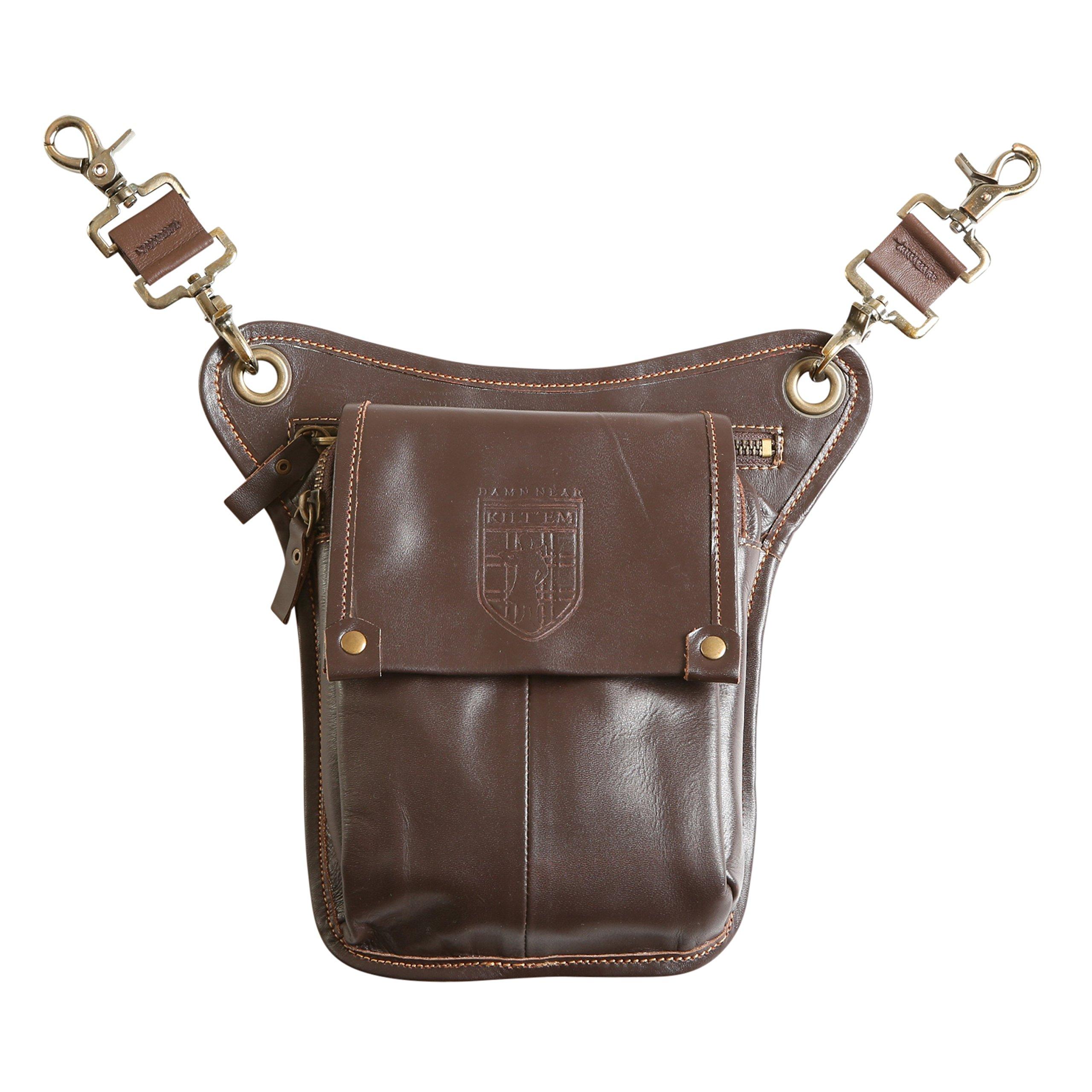 Damn Near Kilt 'Em Premium Brown Leather Sporran Kilt Accessory