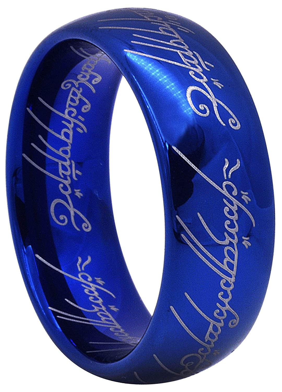 Crownal 8mm Blue Lord Of The Rings Tungsten Carbide Comfort Fit Size 4 To 16