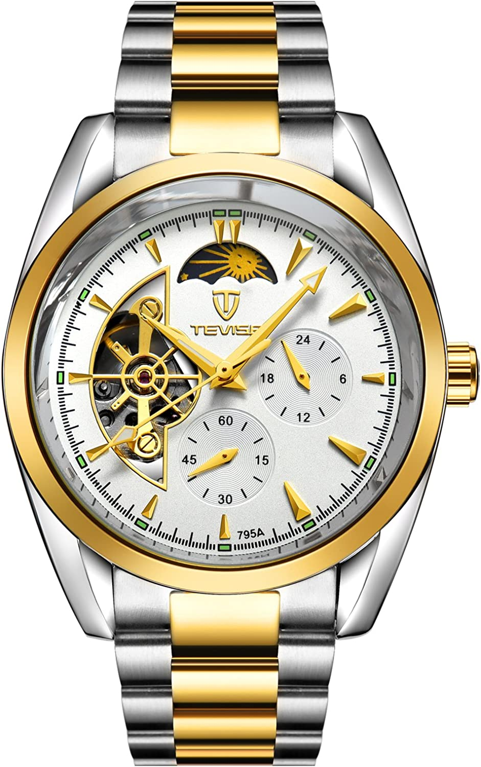 TEVISE Mens Automatic Wrist Watch Fashion Casual Mechanical Wristwatch Gift for Him