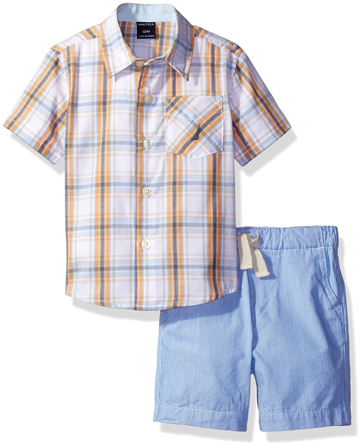 Nautica Baby Boys Sleeve Woven Shirt and Pull on Short Set Nautica Children' s Apparel N130F31Q