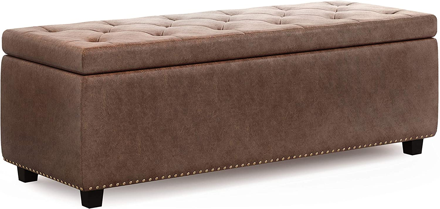 SIMPLIHOME Hamilton 48 inch Wide Rectangle Lift Top Storage Ottoman in Distressed Umber Brown Tufted Faux Air Leather with Large Storage Space for the Living Room, Entryway, Bedroom, Traditional