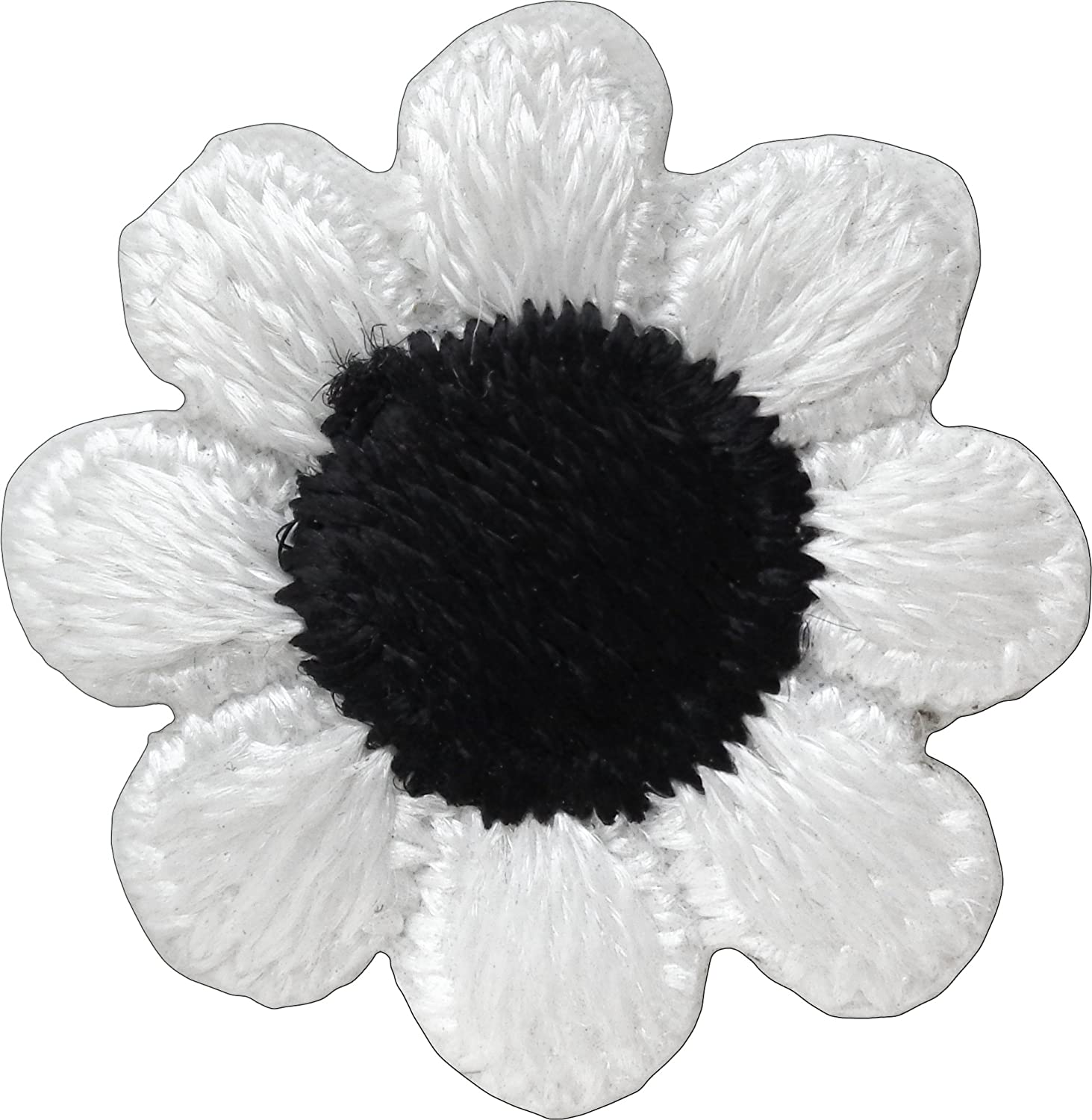 Black White Daisy Flower Embroidery patch