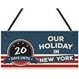 RED OCEAN Countdown Until Holiday New York Chalkboard America Hanging Plaque USA Flag Gift Sign