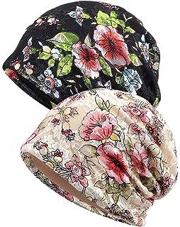 Hats & Caps Fashion Women's Cotton Beanie Cap Lace Floral Chemo ...