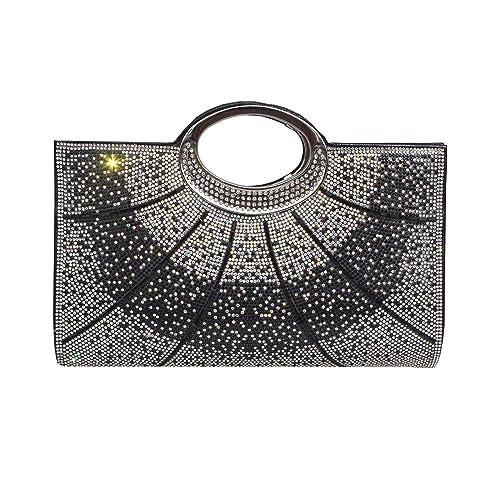 Gesu Women Clutches Rhinestone Clutch Evening Bag Glitter Clutch Purse Wedding Bridal Prom Handbag Black