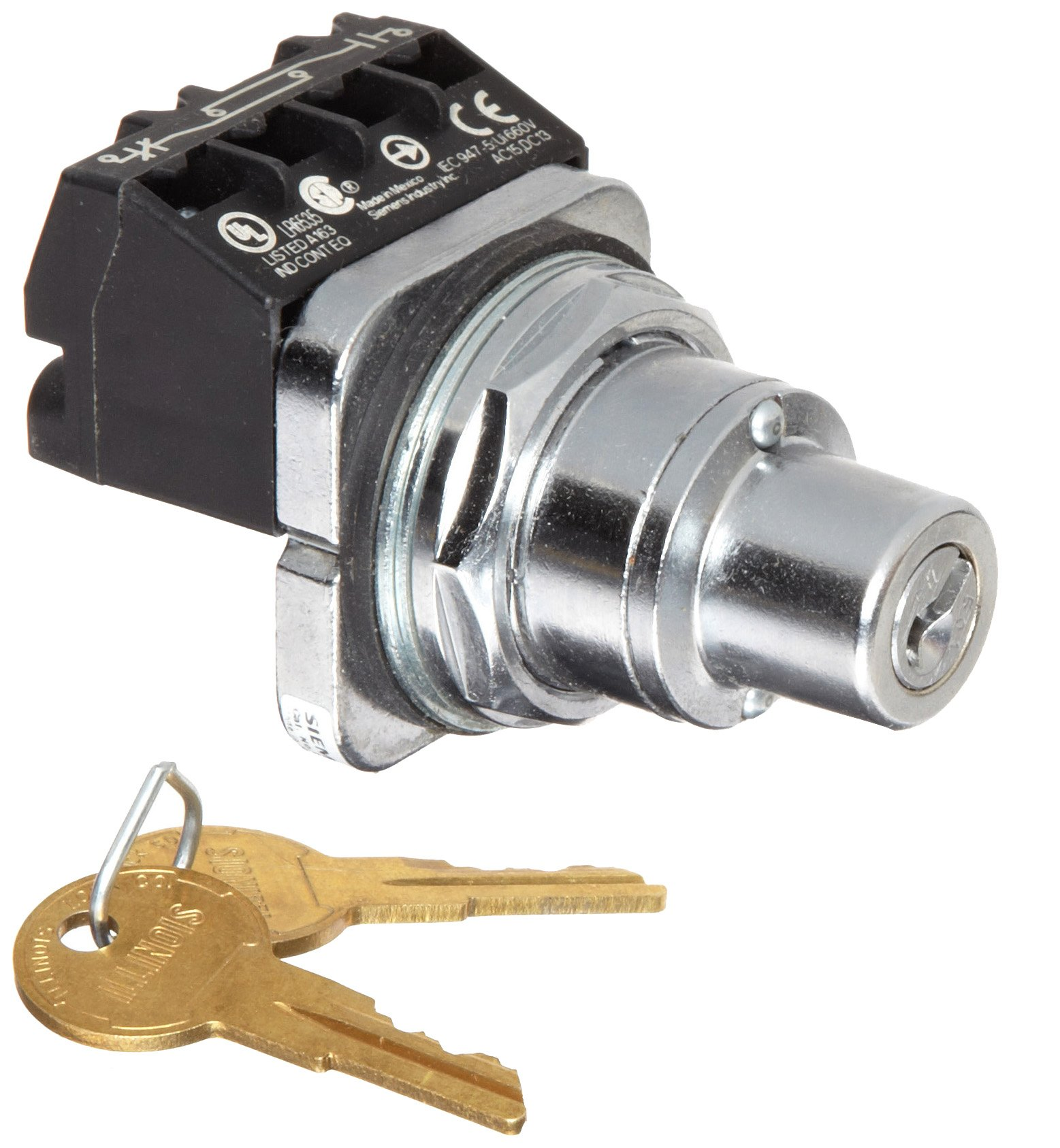 Siemens 52SC6AFA1 Heavy Duty Key Operated Selector Switch Unit, Water and Oil Tight, 2 Positions, Maintained Operation, Key Removable In Left Position, A Cam, 1NO + 1NC Contact Blocks