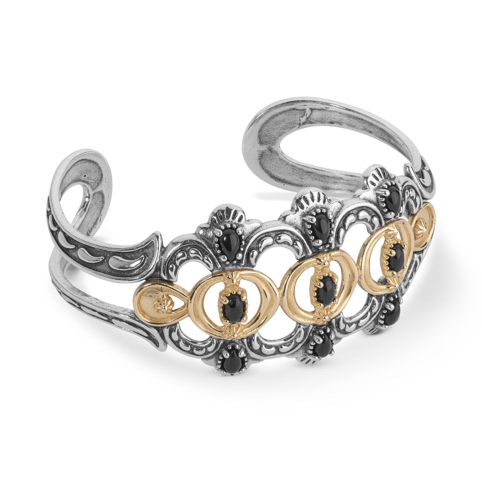 Luna Mixed Metal & Black Agate Bold Cuff Bracelet