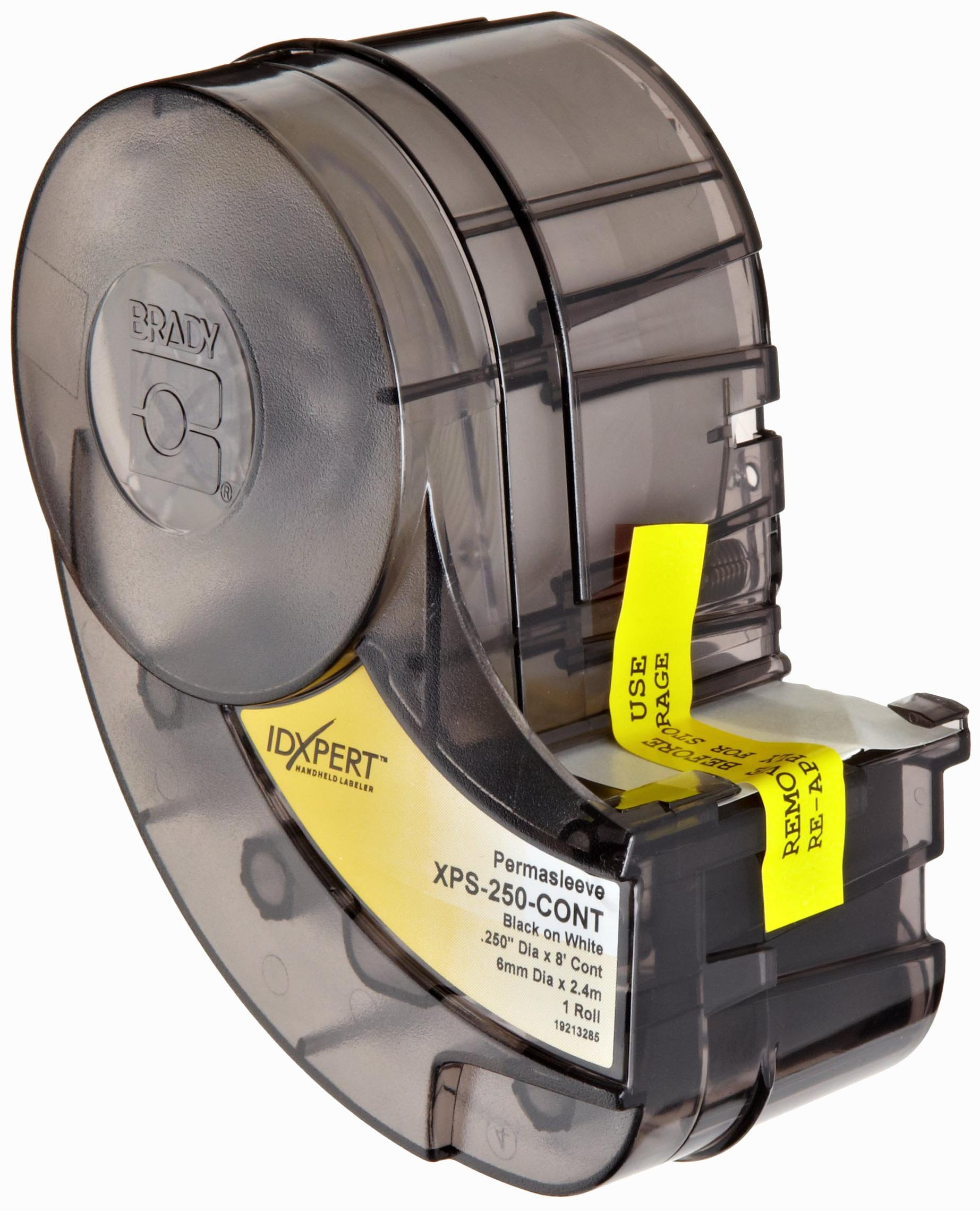 Brady XPS-250-CONT IDXPERT PermaSleeve 0.439'' Height, 1.015'' Width, B-342 PermaSleeve Heat-Shrink Polyolefin, Black On White Color Wire Marker Sleeves