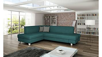 JUSThome LOONA Corner Sofa Corner Group Couch Bed Velour (WxLxH ...