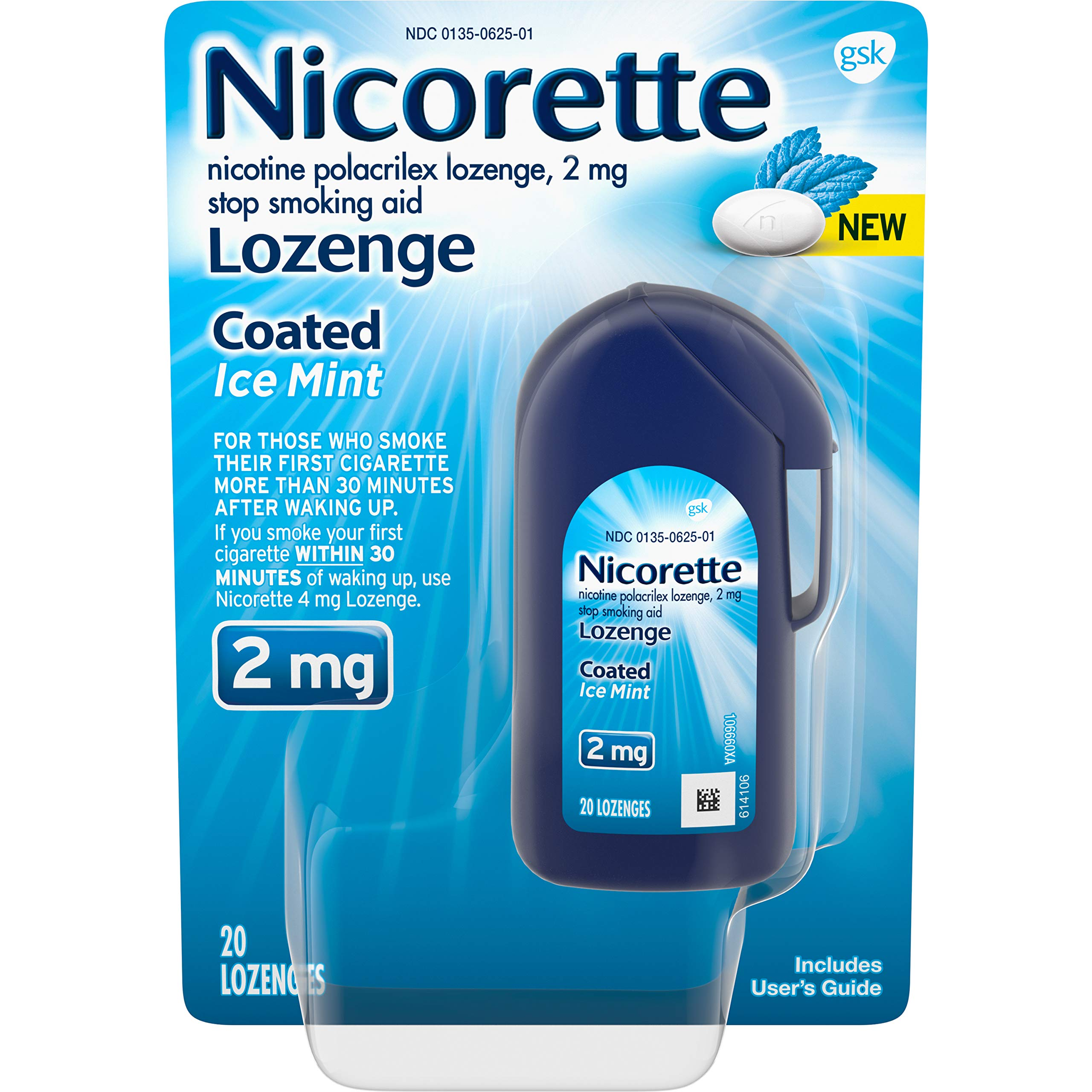 Nicorette 2mg Nicotine Lozenges to Quit Smoking - Ice Mint Flavored Stop Smoking Aid, 20 Count