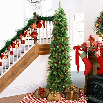 Lifefair 7 5ft Prelit Slim Christmas Tree Decorated With 350 Clear Lights And Realistic 900 Thicken Tips Hinged Ul Certified