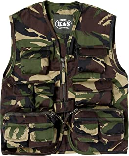 Kids Children's Army Military Woodland Camouflage Multi Pocket Action Vest Polly Cotton Gilet Camo