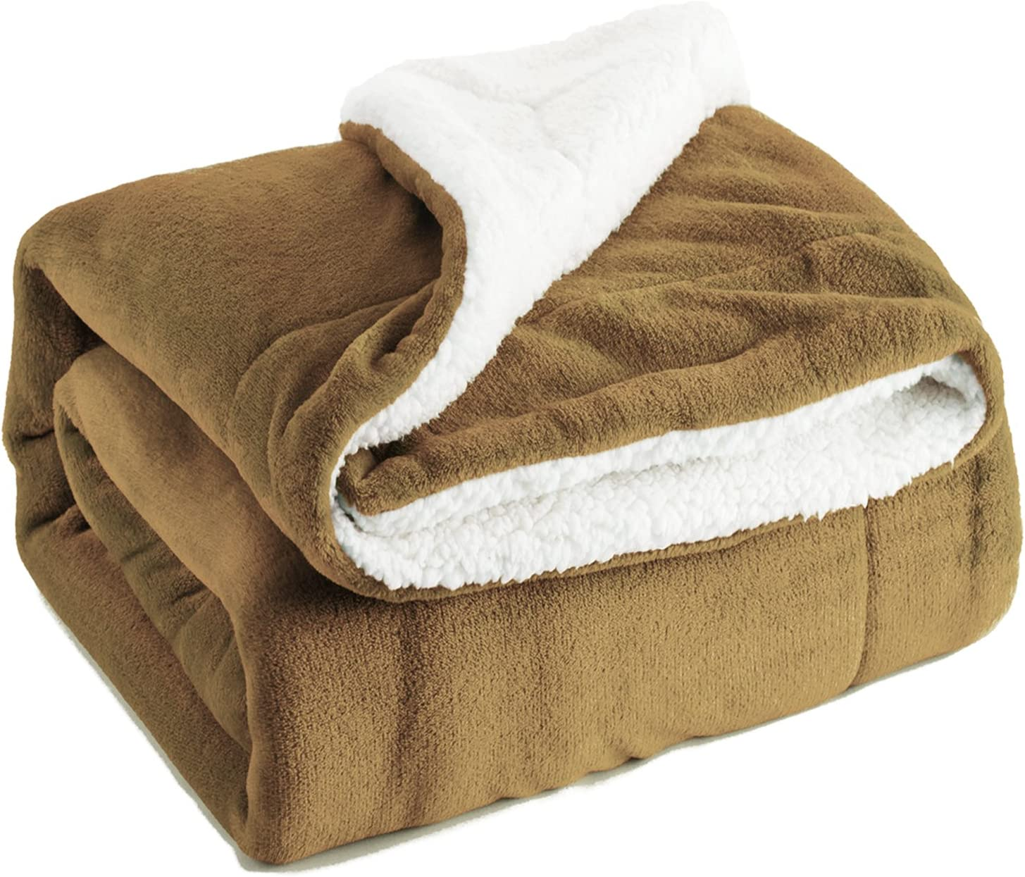 Bedsure Sherpa Fleece Blanket Twin Size Beige Plush Blanket Fuzzy Soft Blanket Microfiber Camel