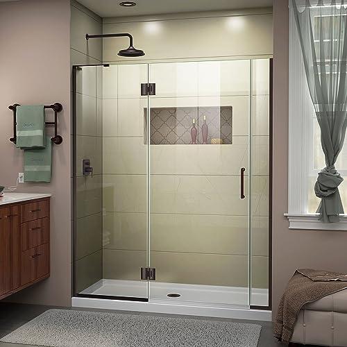 DreamLine Unidoor-X 58-58 1 2 in. W x 72 in. H Frameless Hinged Shower Door in Oil Rubbed Bronze, D3280672L-06
