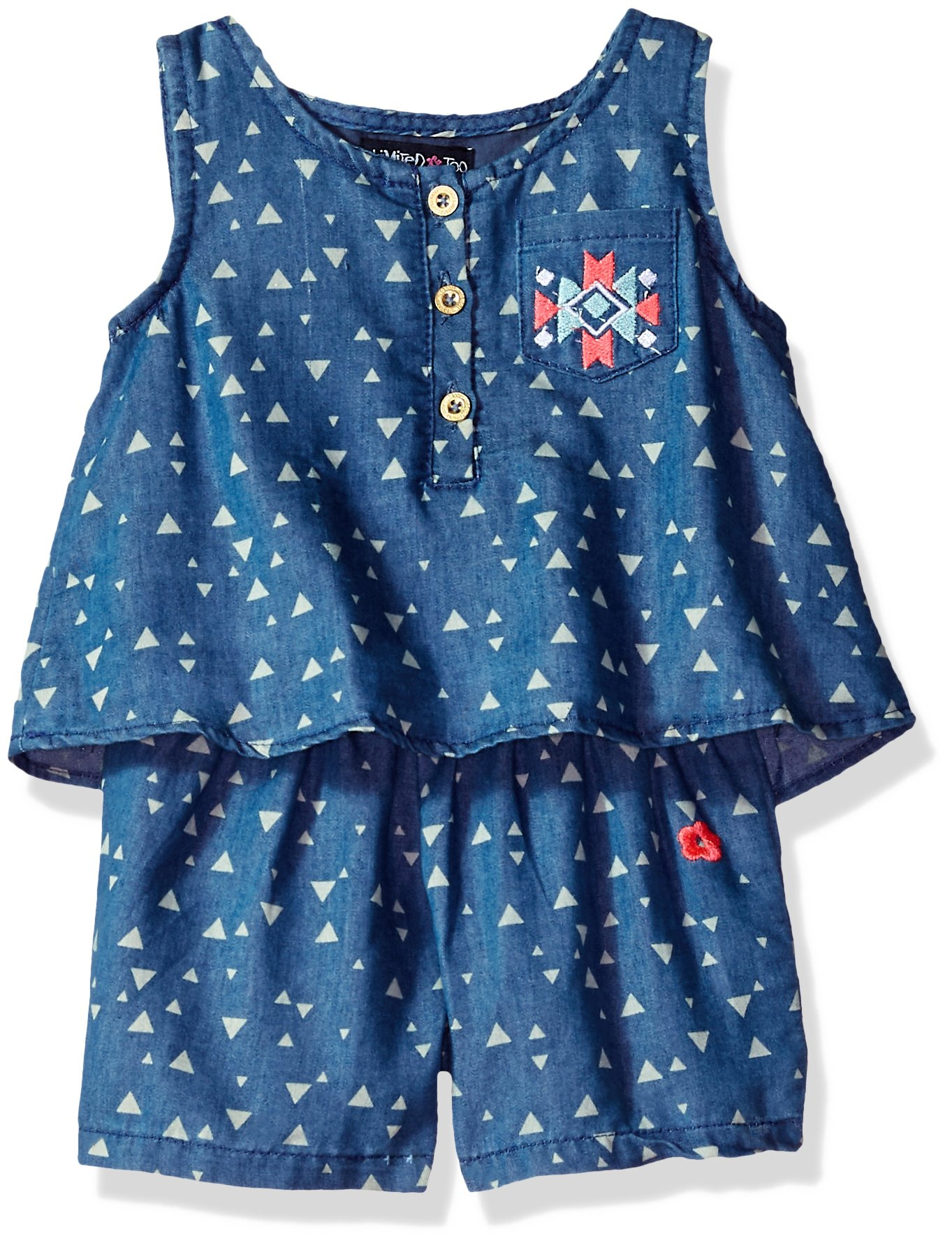 Limited Too Girls' Toddler Romper, Aztec Triangles Medium Blue wash, 2T
