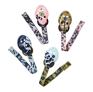 Tommee Tippee Closer to Nature Moda Pacifier Holders, 0m+ - 4 count, Pink, Aqua, & Gold
