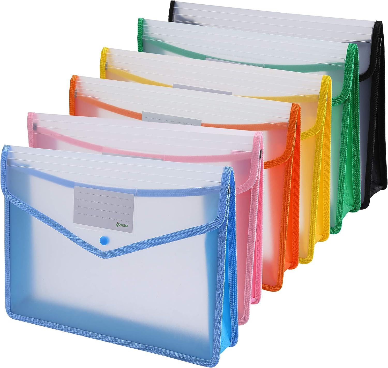 Poche Transparente A4 Documents Portefeuilles Dossiers de Fichiers pour lorganisation de Documents avec Porte Carte Pochette et Fermeture Lot de 20 Pochette Porte-Document A4