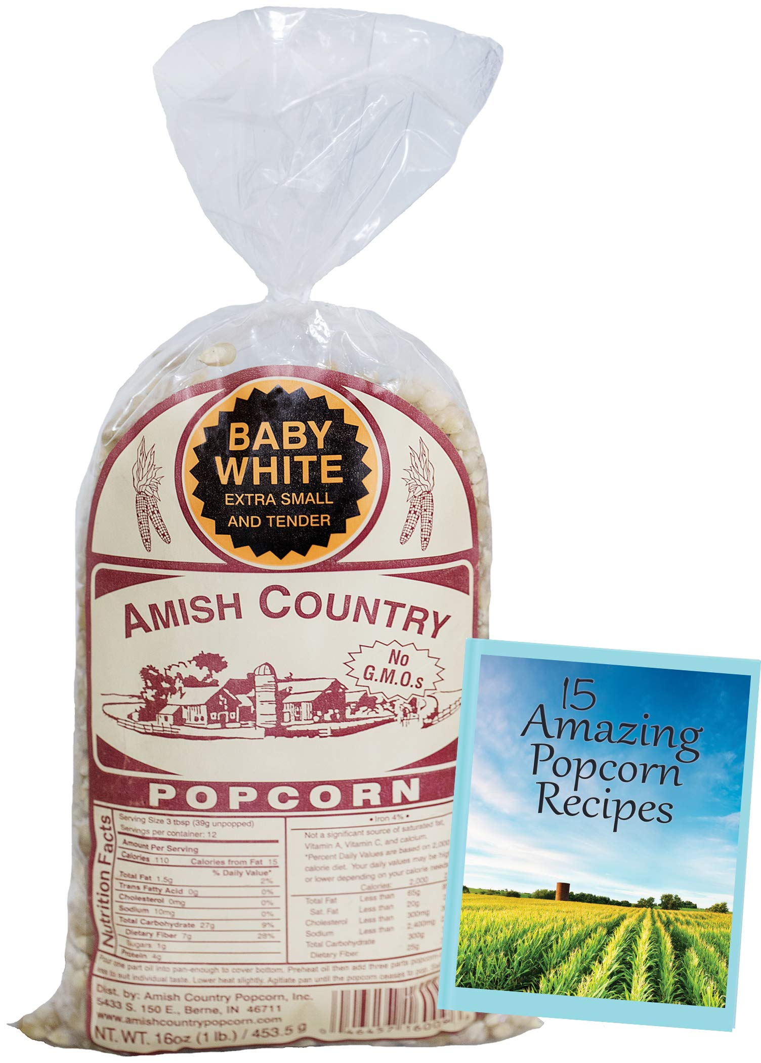 Amish Country Popcorn - Baby White (1 Pound Bag) Small & Tender Popcorn - Old Fashioned And Delicious, with Recipe Guide by Amish Country Popcorn (Image #2)