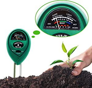 Amfago Soil Moisture Light pH Meter, 3-in-1 Soil Tester Kit Moisture Sensor pH Meter Plant Water Meter for Garden, Farm, Lawn, Plants, Indoor & Outdoor (No Battery Needed)
