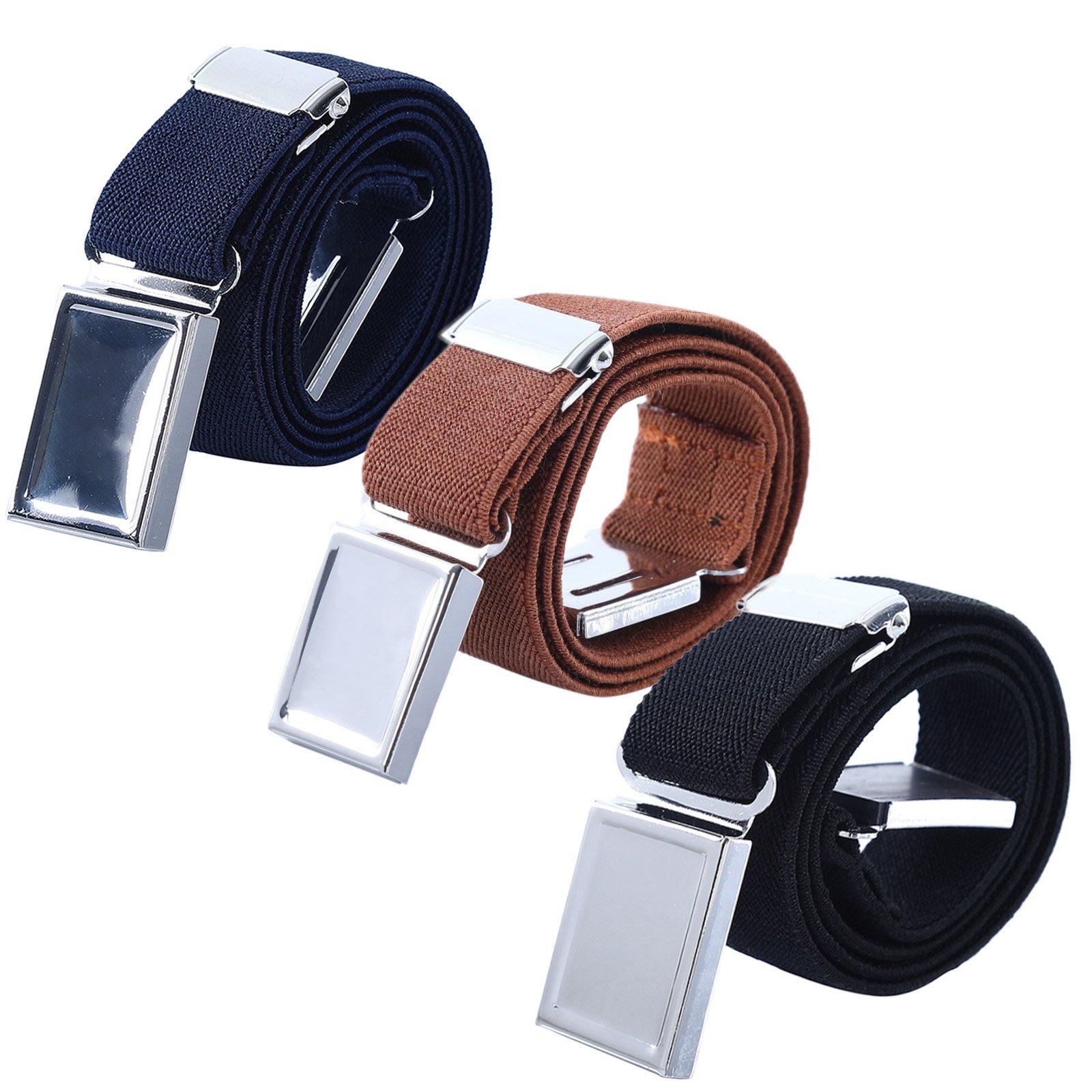 Boy Kids Magnetic Buckle Belt - Adjustable Elastic Children's Belts for Girls, 3 Pieces (Navy blue/Brown / Black)