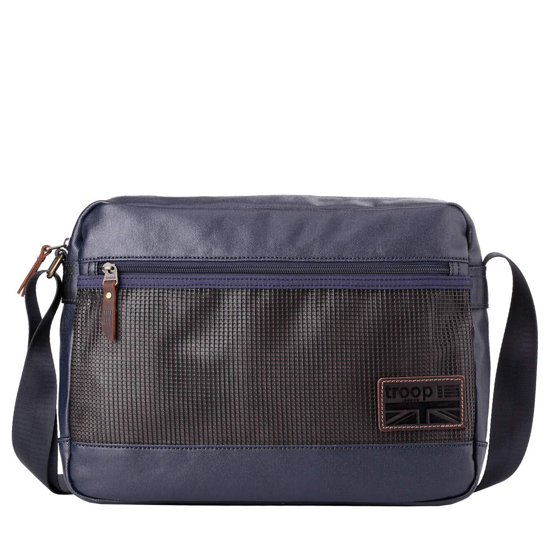 TRP0459 Troop London Heritage Canvas Leather Slim Messenger Bag Smart Travel Bag Tablet Friendly Navy