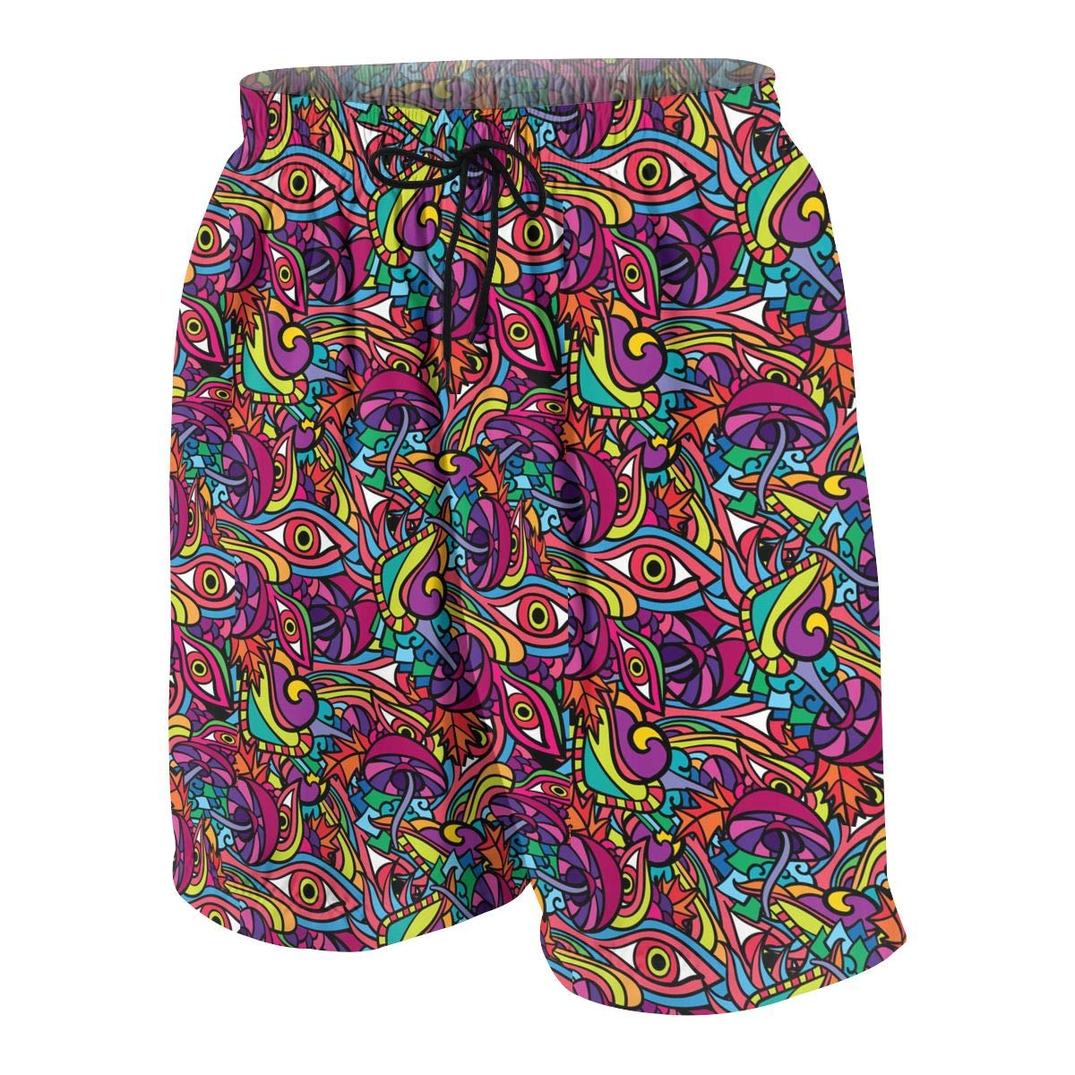 Polyester 60s Hippie Psychedelic Art Pattern Beachwear with Pockets Youth Quick Dry Swim Trunks