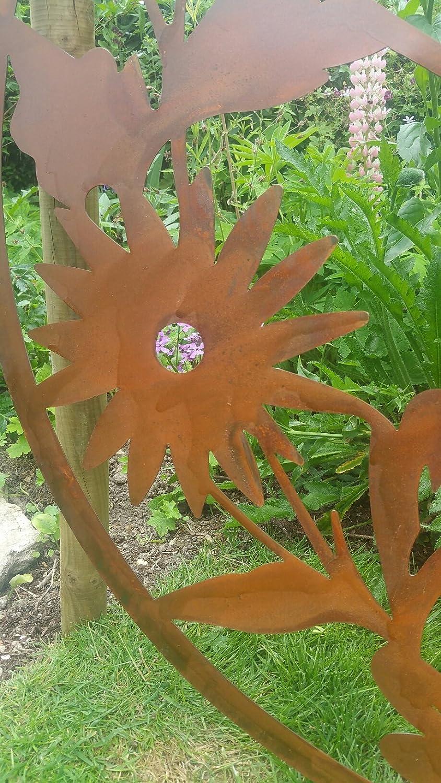 F&G Supplies Wonderful rustic sunburst flower metal round garden ...