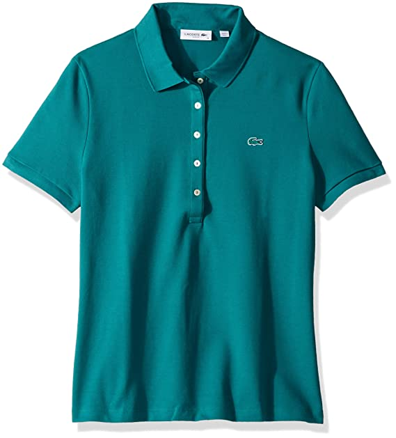 ddf7e419 Lacoste Women's Classic Short Sleeve Slim Fit Stretch Pique Polo