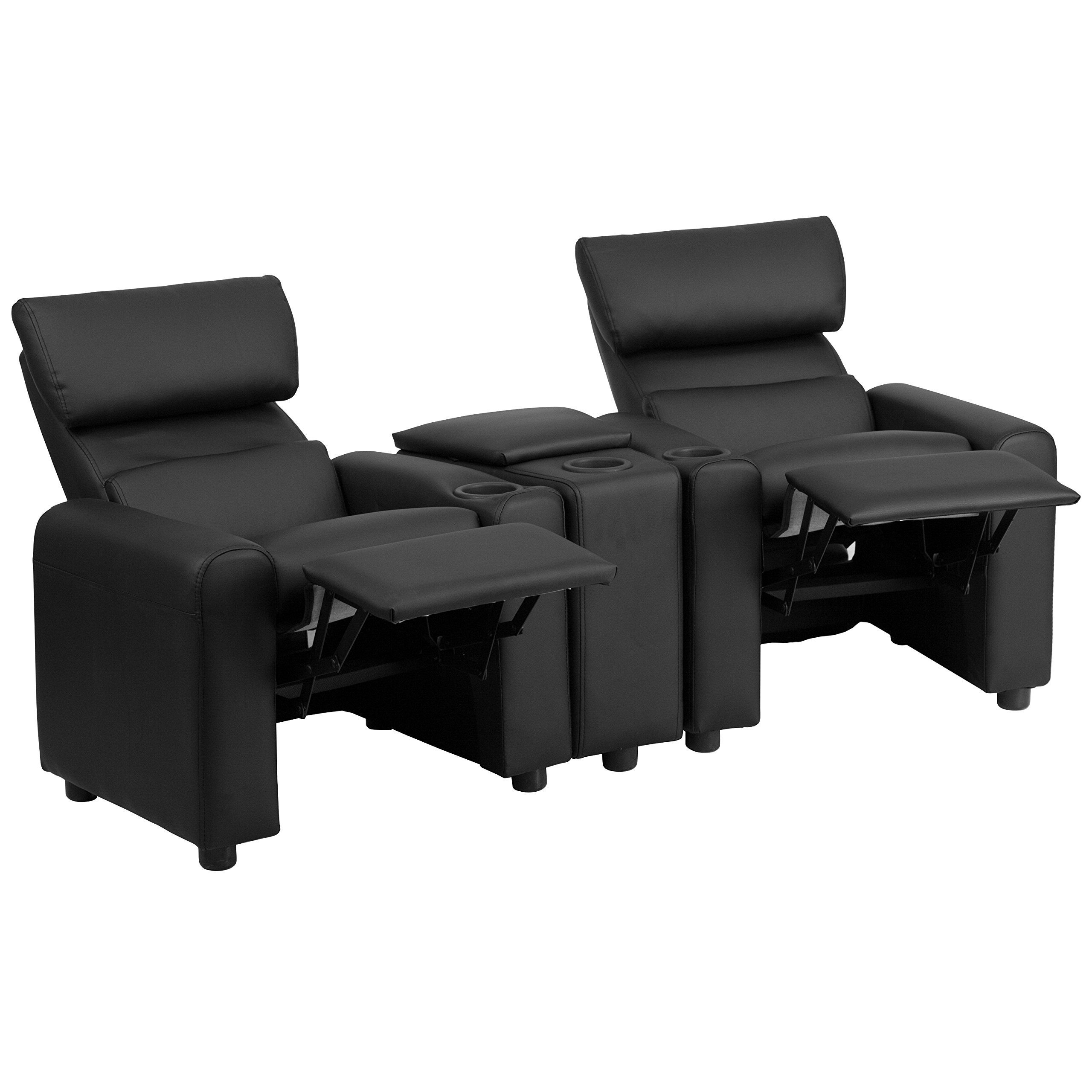 Flash Furniture Kid's Black Leather Reclining Theater Seating with Storage Console
