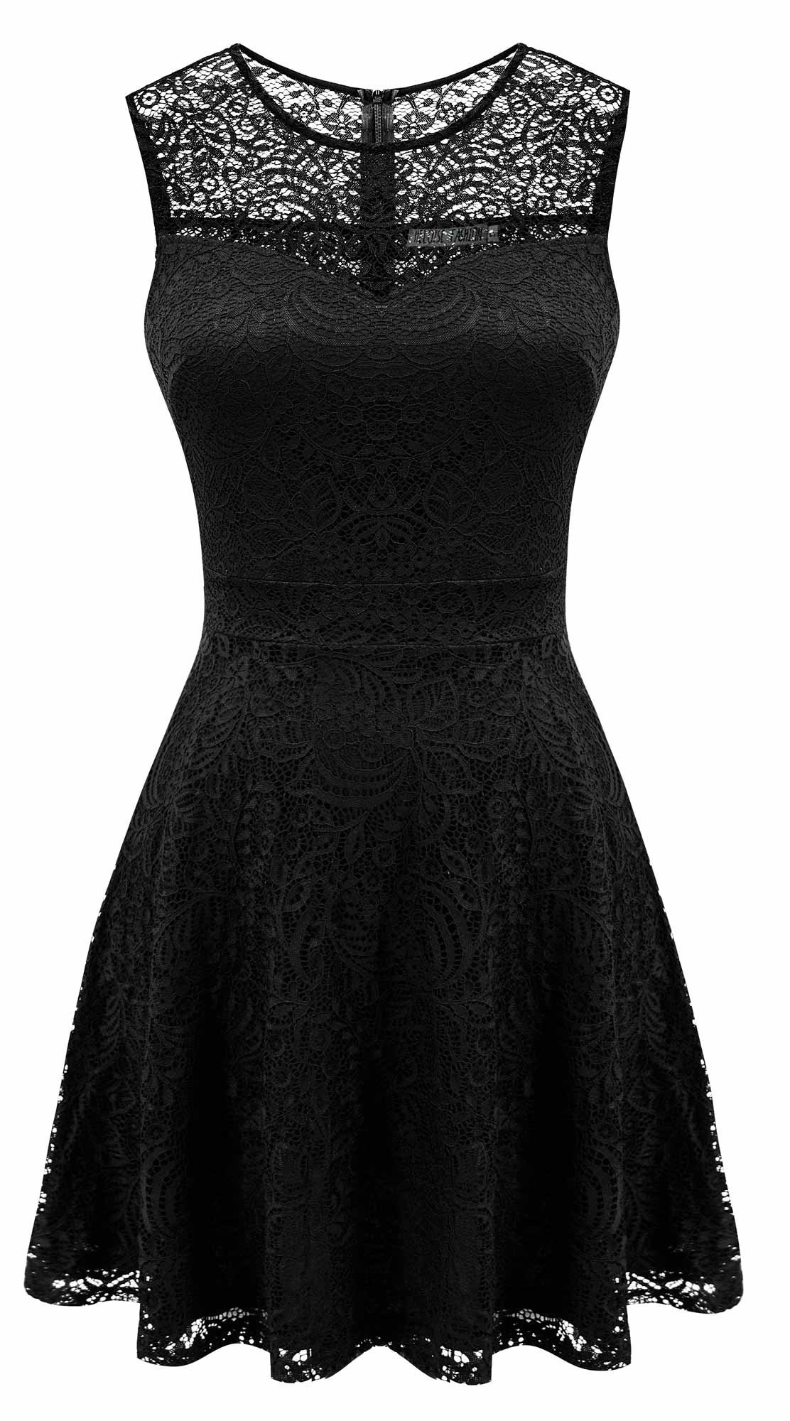 Sylvestidoso Women's A-Line Sleeveless Pleated Little Black Cocktail Party Dress Full Lace (M, Black)