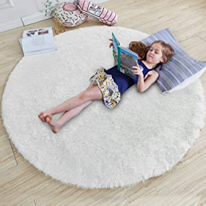 White Round Rug for Bedroom,Fluffy Circle Rug 4'X4' for Kids Room,Furry Carpet for Teen's Room,Shaggy Throw Rug for Nursery Room,Fuzzy Plush Rug for Dorm,White Carpet,Cute Room Decor for Baby