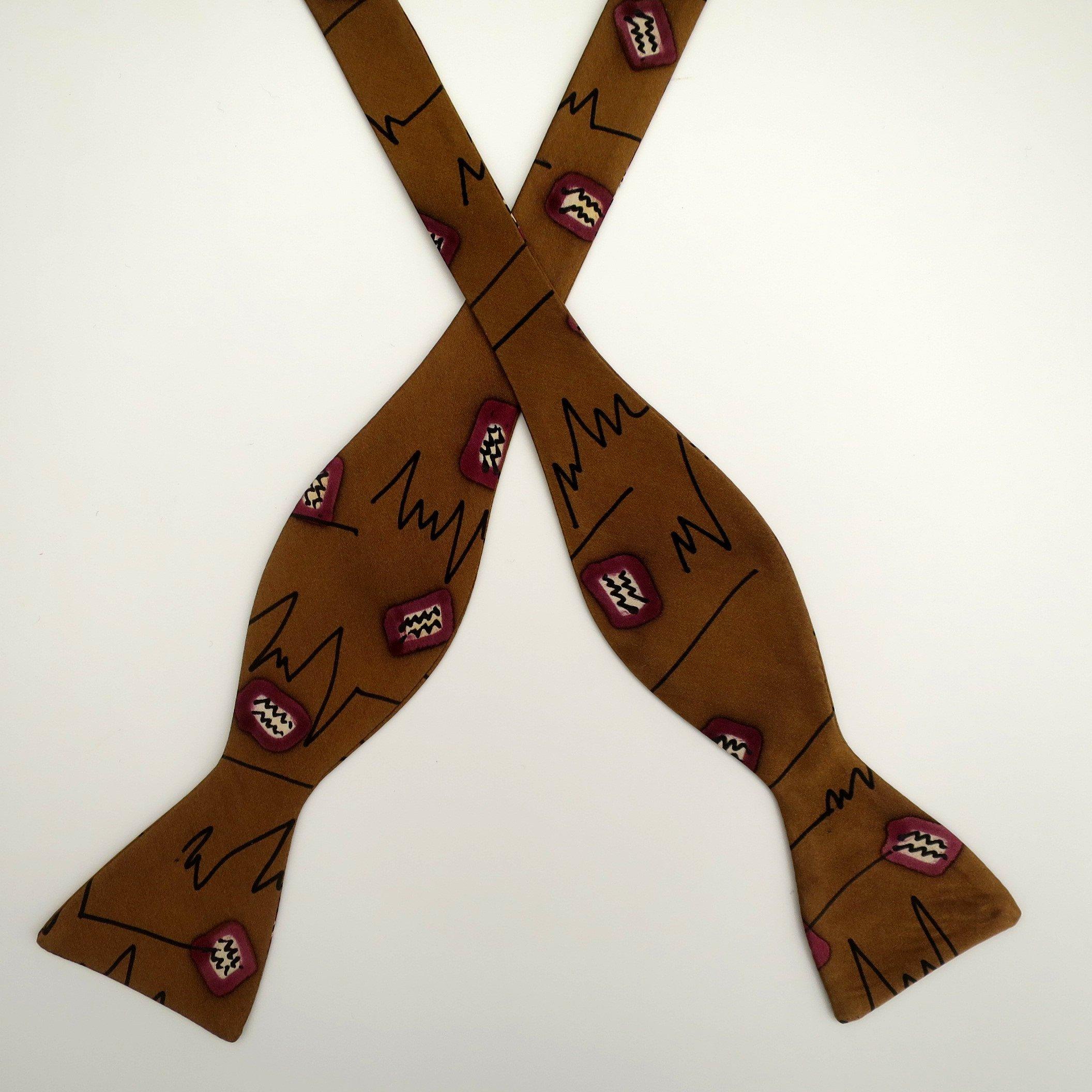 100% Silk Hand-Painted Hand-Made Men's Self Tie Bow Tie ''Amoebas'' Art to Wear by Murphyties