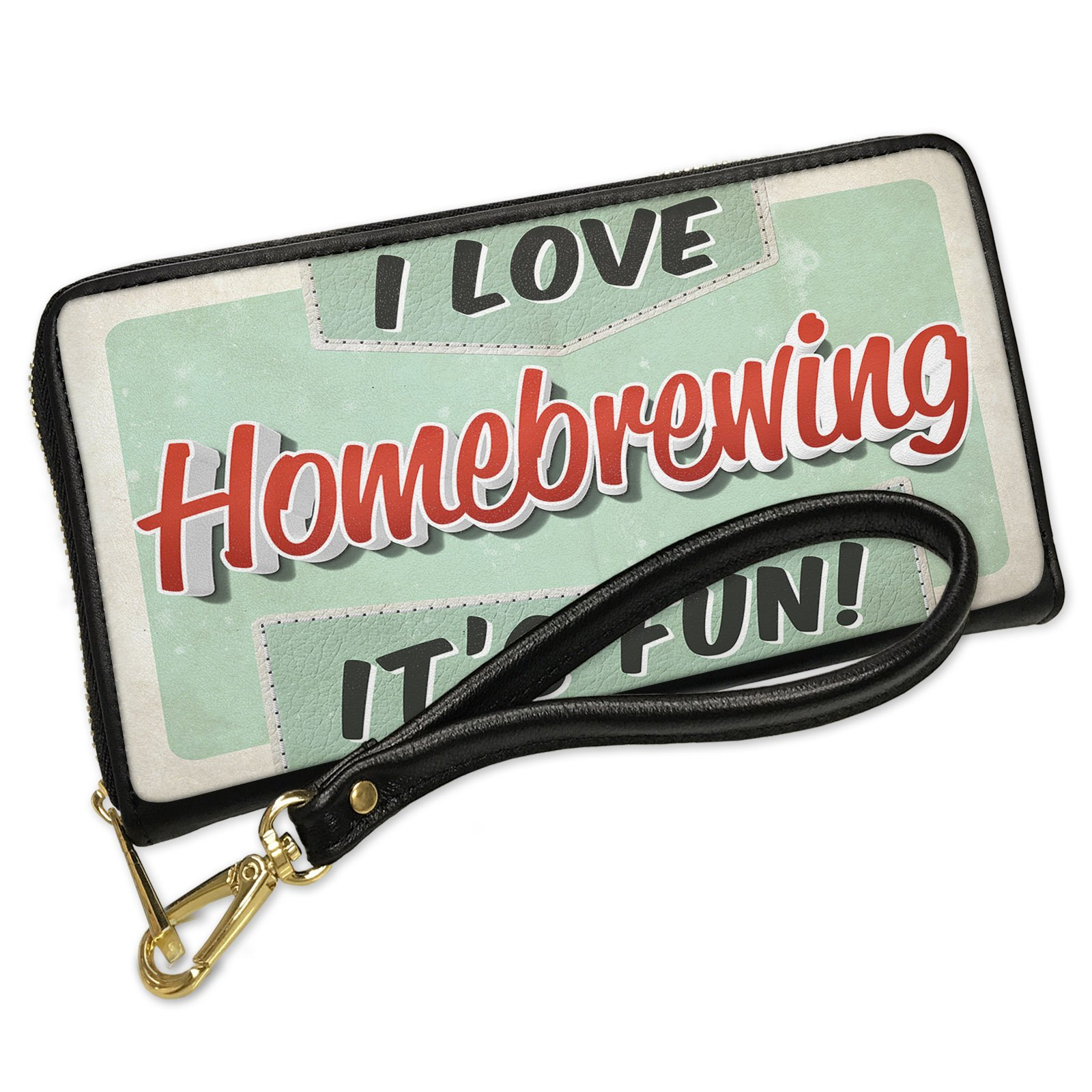 Wallet Clutch I Love Home brewing, Vintage design with Removable Wristlet Strap Neonblond