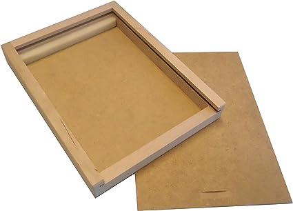 De madera de la caja deslizante, caja de madera para lápices de coloures, Filzstiffteund cepillo de vacío: Amazon.es: Hogar