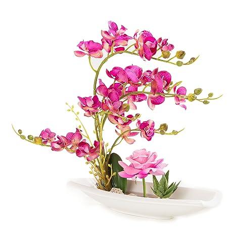 amazon com orchid artificial flowers arrangement bonsai miniascape
