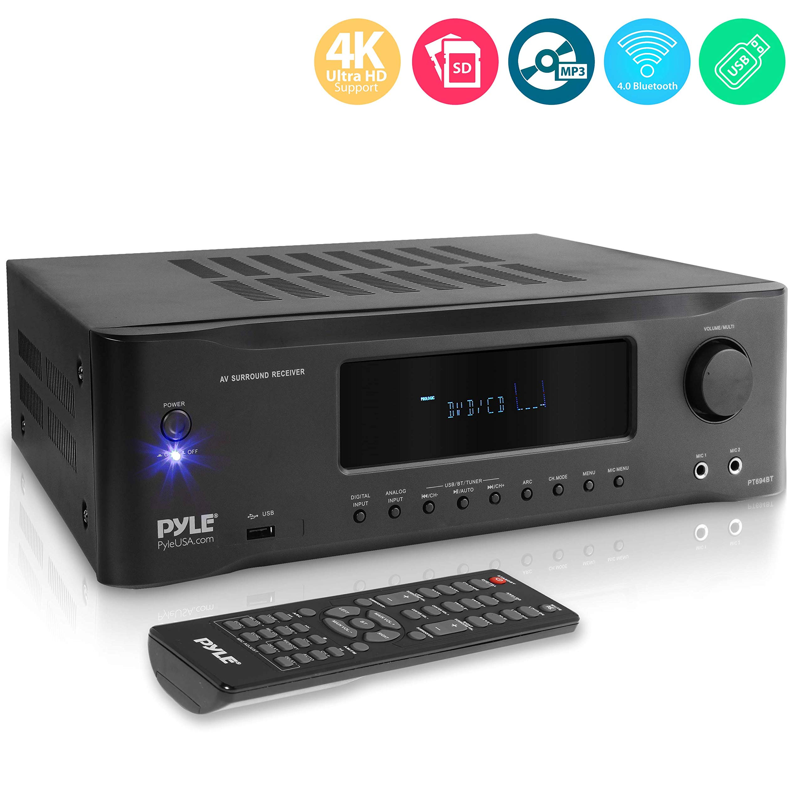 5.2-Channel Hi-Fi Bluetooth Stereo Amplifier - 1000 Watt AV Home Speaker Subwoofer Sound Receiver W/Radio, USB, RCA, HDMI, Mic in, Wireless Streaming, Supports 4K UHD TV, 3D, Blu-Ray - Pyle PT694BT by Pyle