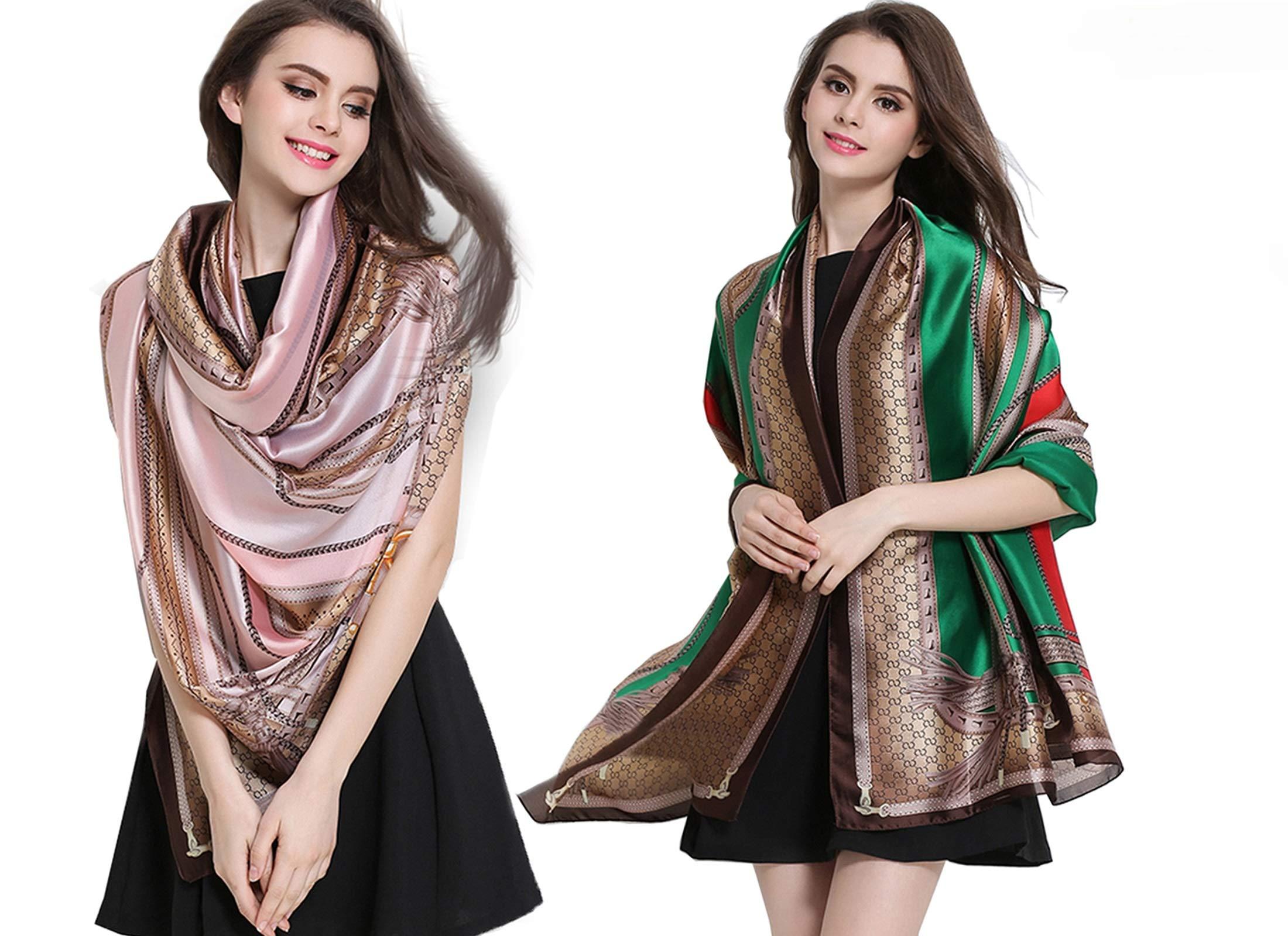 K-ELewon Silk Feeling Scarf Fashion Scarves Long Lightweight Sunscreen Shawls for Women (2 Pcs(Green+Pink))
