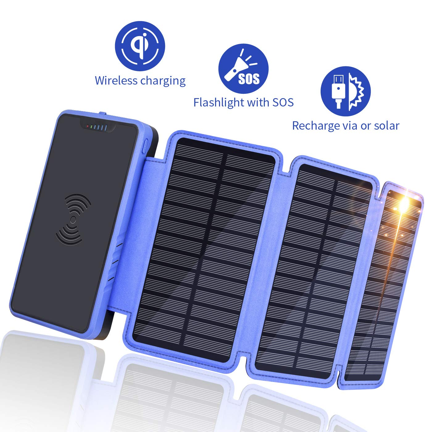 Solar Charger 20000mAh, Soluser Portable Wireless Solar Power Bank External Battery Pack with 3 Solar Panels, Emergency Flashlight for Smartphone by Soluser