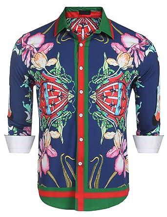 Jinidu Mens Casual Contrast Long Sleeve Button Down Dress Shirts by Jinidu