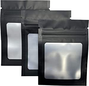 100 Pack 3x4 Resealable Zip Lock Matte Black Mylar Storage Bags | Heat-Sealing Pouch with Clear Frosted Window | Smell-Proof |Waterproof |Travel Size