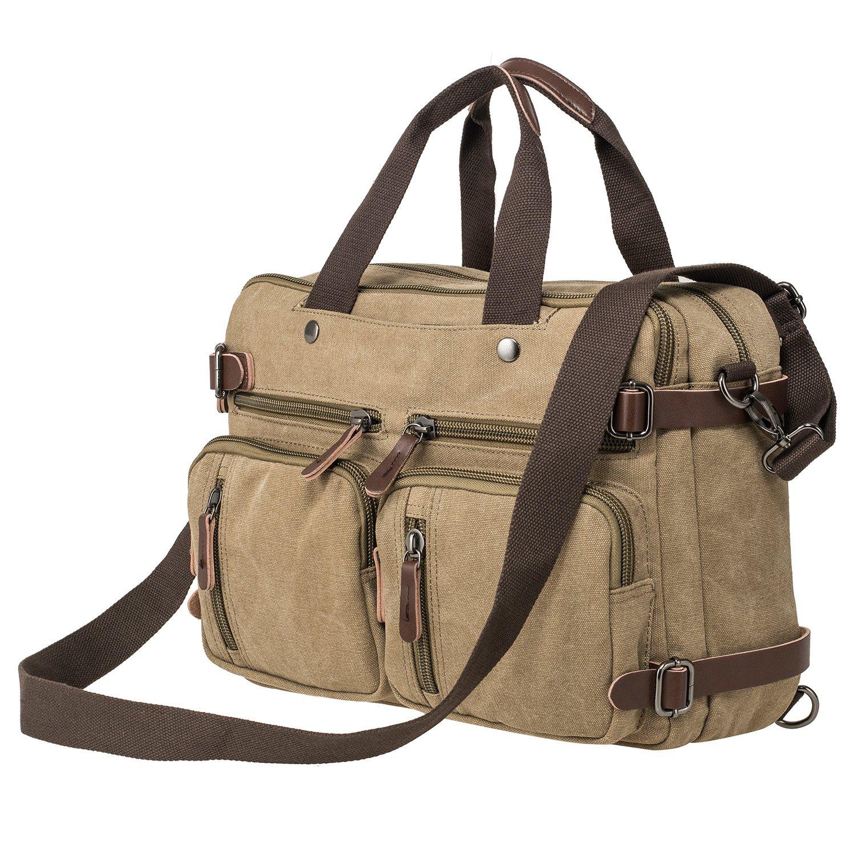 HIKA Vintage 3-Way Convertible Briefcase Laptop Backpack Messenger Bag Backpack-Vintage Khaki by HIKA (Image #7)