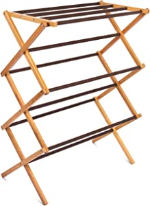 BIRDROCK HOME Folding Steel Clothes Drying Rack - 3 Tier - Water-Resistant Bamboo Wood - Fully Assembled Collapsible Dry Rack - Walnut (Brown)