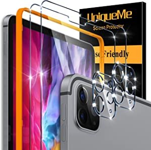 [4 Pack] UniqueMe Tempered Glass Compatible with iPad Pro 2020 [ 12.9