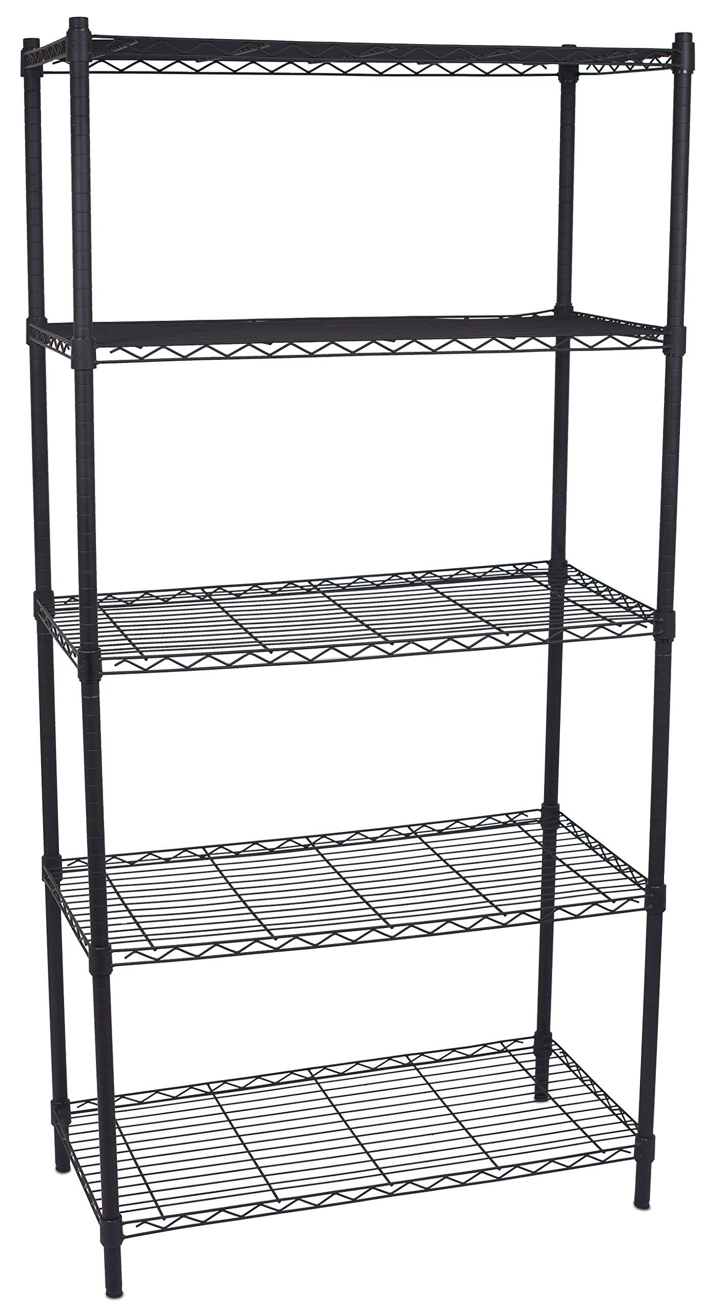 Internet's Best 5-Tier Wire Shelving - Flat Black - Heavy Duty Shelf - Wide Adjustable Rack Unit - Kitchen Storage by Internet's Best