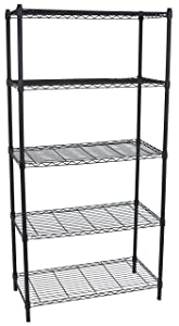 Internet's Best 5-Tier Wire Shelving | Flat Black | Heavy Duty Shelf | Wide Adjustable Rack Unit | Kitchen Storage