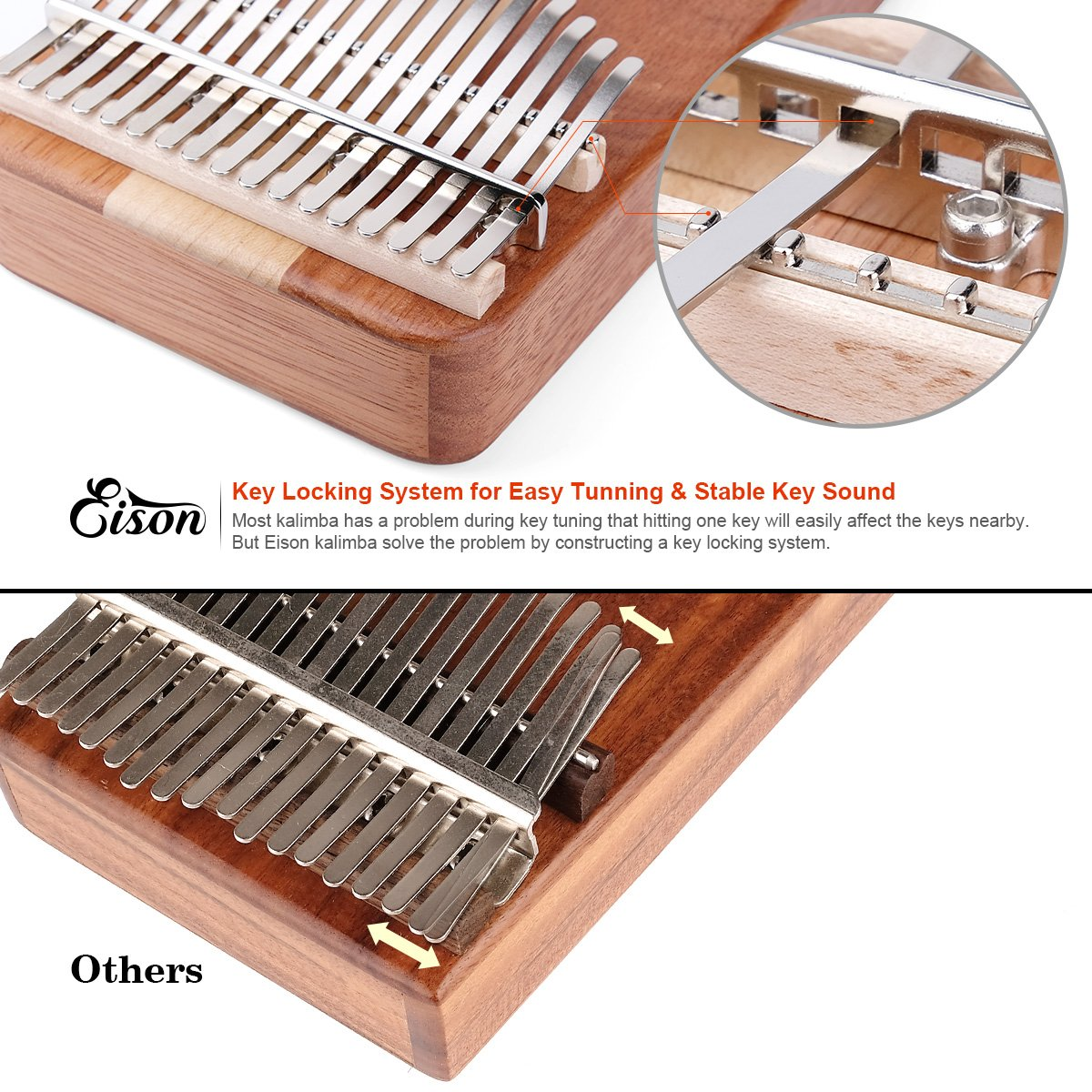Kalimba,Eison Kalimba Thumb Piano Finger Piano 17 keys with Key Locking System with Instruction and Tune Hammer, Solid Wood Mahogany & Maple Body- Best Gift for Music Fans Kids Adults,E-17 by Eison (Image #2)
