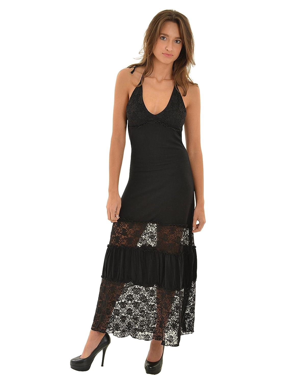 f7db50ba7860 Womens Long Black Maxi Dress Sexy Sheer Lace Skirt Plunging V-neck Halter  LBD at Amazon Women s Clothing store